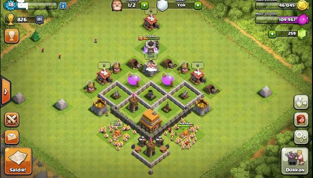 clash-of-clans-4.-seviye-köy-dizilimi